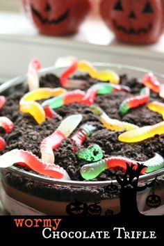 Wormy Halloween Chocolate Pudding Trifle
