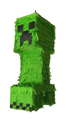 Minecraft Creeper pinata. Can be made in any size. Perfect for your Minecraft birthday party theme. Contact us via Facebook @mypartypinatas or our website at www.mypartypinatas.com.