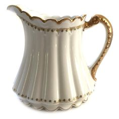 Antique Theodore Haviland Limoges China Pitcher Large 40 oz. White and... ($87) ❤ liked on Polyvore featuring home, kitchen & dining, serveware, haviland, white pitcher and white serveware