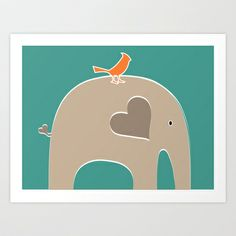 Put a Bird on It Elephant Art Print by Elephant Love - $20.00