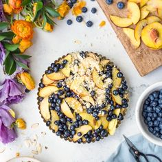 This easy Almond Peach Blueberry Crumble Slices recipe is the perfect dessert for summer entertaining during peak berry and peach season.