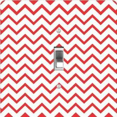 """Rikki KnightTM Red Zig Zag Stripes - Single Toggle Light Switch Cover by Rikki Knight. $13.99. The Red Zig Zag Stripes single toggle light switch cover is made of commercial vibrant quality masonite Hardboard that is cut into 5"""" Square with 1'8"""" thick material. The Beautiful Art Photo Reproduction is printed directly into the switch plate and not decoupaged which make these Light Switch Plates suitable for use in any room in the office, home, etc. etc.. These Light ..."""