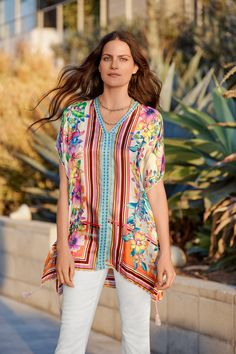 Lightweight and breezy, our silky-soft Stellar Poncho is the perfect layer for spring and beyond. Colorful, floral prints combined with bold geometric stripes gives it the perfect pop of color, while the luxe fabrication creates a feminine flowy silhouett Resort Style, Johnny Was, Color Pop, Floral Prints, Cover Up, Feminine, Elegant, Fabric, Clothes