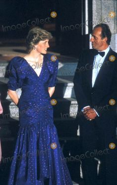 April 21 1987 Charles & Diana attend a private dinner with the Spanish Royal Family at the Zarzuela Palace, El Pardo in Madrid, Spain