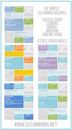 Betcha didn't know you could clean so much with basic ingredients! 55 Simple Cleaning Recipes - 5 Free Printables - Clean Mama