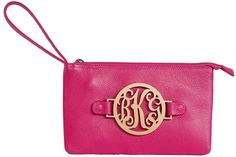 $98 The Claire Leather Wristlet with Acrylic Monogram
