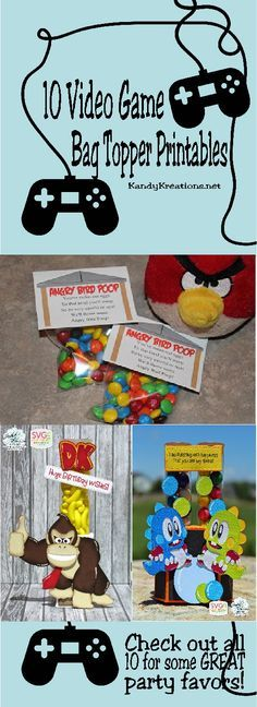 Its so easy to create a fun party favor treat with just a little candy, a bag, and a great printable bag topper.  If you are throwing and Arcade Video Game party or a Minecraft, Donkey Kong, Angry Bird party, you should definitely check out these 10 video game bag topper printables.