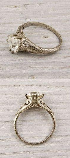 Old European Cut Diamond Vintage Engagement Ring   thebeautyspotqld.com.au