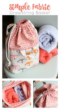 Fabric Basket with an Easy Close Drawstring Tutorial