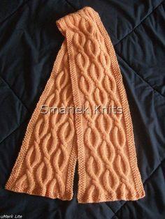 .    Pattern: Shadow Scarf  (see below)  Yarn: Elann Highland Wool, autumn peach, 5 balls Needle: 4.5 mm (US7) Blocked size: 8.5 in x 67 in ...