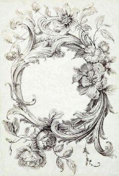 Acanthus and floral border Decoupage, Adult Coloring Pages, Coloring Books, Etiquette Vintage, Images Vintage, Vintage Labels, Vintage Prints, Vintage Art, Stencils