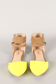 Front View of the Qupid Pointer-40 Two Tone Ankle Strap Pointy Toe Flat