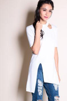 Cut-Out Slit Hem Tunic (White) SGD$ 30.00