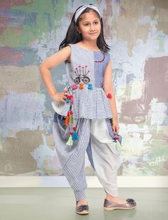 Buy 1 to 16 year Kids Salwar Kameez Online. Shop Online salwar kameez for kids in Dhoti, Palazzo, Anarkali style. Best Children salwar kameez collection for wedding, party, festival wear. Baby Girl Dress Patterns, Baby Dress Design, Frock Design, Baby Suit Design, Stylish Dresses For Girls, Dresses Kids Girl, Kids Outfits Girls, Girl Outfits, Kids Salwar Kameez