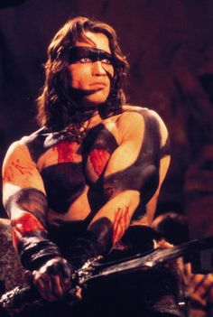 Schwarzenegger got his start in Conan der Barbarian, written and directed by John Milius, who created the Arnold film persona, according to Arnold. Conan The Barbarian 1982, Barbarian Movie, Arnold Schwarzenegger, Red Sonja, Conan Der Barbar, Armadura Do Batman, Conan The Destroyer, Cinema Tv, Sword And Sorcery