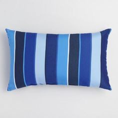Made of high-quality Sunbrella performance fabric for outdoor use, our lumbar pillow boasts a cool look with blue-hued stripes. Water, stain and fade-resistant, this easy-care accent coordinates with a variety of our solid or patterned throw pillows and cushions.