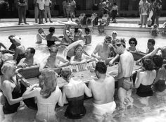 Floating craps table in a Las Vegas pool, 1954.