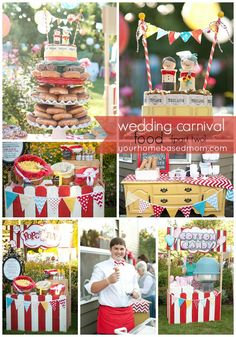 Lots of carnival food - A cotton candy booth, popcorn booth with lots of toppings, a doughnut cake for the bride and groom and an ice cream bar were all part of the carnival too. Backyard Carnival, Diy Carnival, Circus Carnival Party, Circus Theme Party, Carnival Food, Carnival Wedding, Carnival Birthday Parties, Carnival Themes, Circus Birthday
