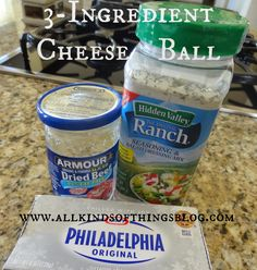 Three Ingredient Cheeseball Recipe 0 Cream Cheese, Dried Chipped Beef, Ranch Seasoning http://www.allkindsofthingsblog.com/2013/05/cheeseball-just-how-i-like-it.html