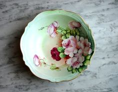 Vintage Porcelain Royal Austria Bowl, O&EG Serving Dish, Near Mint, Hand Painted Vegetable Bowl, Pink Rose Pattern, 24K Gold Rim, Gutherz, by ninthstreetvintage, $50.00