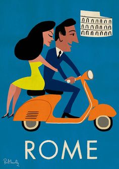 kitsch 50's style kitsch vintage style Travel Posters - Paul Thurlby roman holiday inspired imagery #Vintagetravel