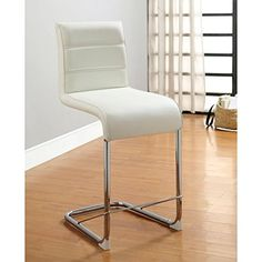 Furniture of America Alta Leatherette Pub Dining Chairs (Set of 2) White White Finish