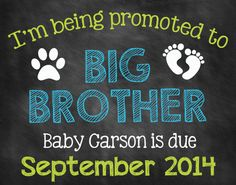 Printable Chalkboard Pregnancy Announcement // Pregnancy Reveal // Dog Big Brother