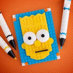 Brick Sketches are a fun type of illustration I create using only Lego on a base. Train Lego, Lego Trains, Simpsons Lego, Lego Painting, Bart Simpson, Pixel Art, Bloc Lego, Lego Portrait, Lego Mosaic
