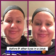 Before & after #eyes in a #stick. No #brushes required & no #creases either! Comes in different shades & lasts all day & is #waterproof.   #Tyrabeauty #beautytainer #bootyful #fierce #badassery #love #loveit #nofilter #TyraBanks