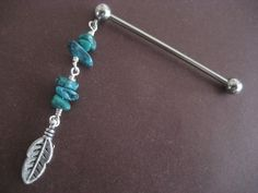 Items similar to Industrial Barbell Earring, Turquoise Feather Industrial Barbell Piercing Beaded Leaf Charm Dangle Bar Industrial Barbell Earring on Etsy Industrial Piercing Jewelry, Industrial Barbell, Industrial Bars, Barbell Piercing, Piercing Tattoo, Pircing Industrial, Body Jewelry, Unique Jewelry, Ear Jewelry