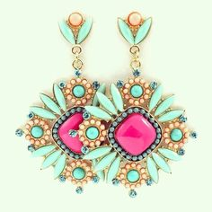 Chandelier earrings add a pop of color to any outfit