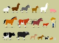 alpaca: Cute Cartoon Farm Characters including a farmer and 17 animals  Sheep, Llama, Donkey, Goat, Alpaca, Pig, Horse, Cow, Mule, Calf, Cow, Buffalo, Great Dane Dog, German Shepherd Dog, Cat, Hare, and Rabbit  Illustration
