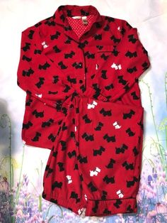 Adonna Red Pajama Scotty Terrier 2 Piece Lounge Size Large  Adonna   PajamaSets Red Pajamas 80e6f1957
