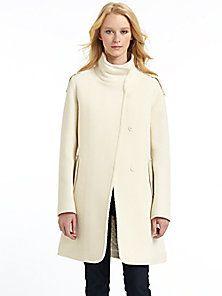 RUDSAK - Leather-Trim Back Pleat Coat/Off White