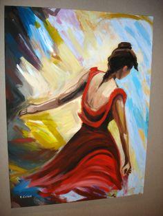 """""""Ballerina di flamengo"""" tela 97x137 con colori acrilici"""