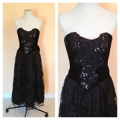 Vintage Strapless Black Velvet Sequined Gown. by NicoleNicoletta