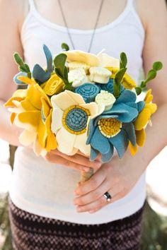 Custom Wedding Wildflower Felt Bouquet - Alternative Wedding Flowers - Teal and Yellow -