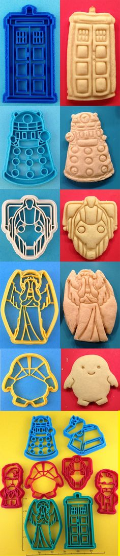 Through the wonders of 3D printing technology, biscuit / cookie cutters by WarpZone, in a variety of classic Doctor Who shapes: the TARDIS, Dalek, K9, a Weeping Angel, Cyberman, a blobby little Adipose, and others. Great level of details comes through in the biscuit. You'll be able to easily exterminate the Dalek in your stomach acids, but be wary of blinking while baking the Weeping Angels. $6 - 7 ea.