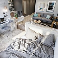 Simple small studio apartment in open plan layout
