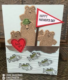 Bear Hugs Father's Day Card - www.stampedwithaloha.com Bear Hugs Clear-Mount Stamp Set 139546 $22.00 , Bear Hugs Framelits Dies 140275 $27.00 , Seaside Textured Impressions Embossing Folder 141481 $8.50