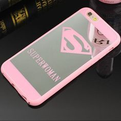Lover Cell Phone Mirror Case For iPhone 7 6 6s Plus 5 5s Superman Case Soft Silicone Frame Back Cover For iPhone 7 7 Plus