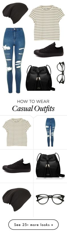 """Casual day?"" by auroraliu on Polyvore featuring Topshop, Monki, Converse and Kate Spade"