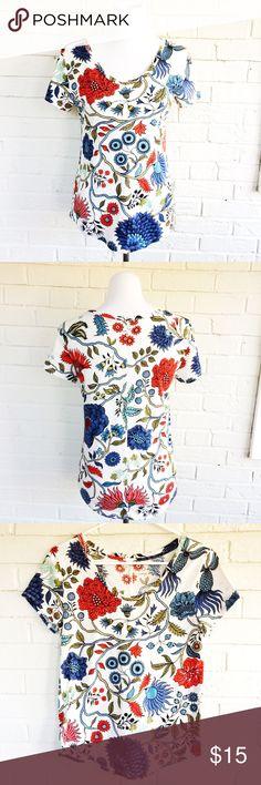 LOFT Vintage Soft floral blue red botanical tee Make an offer! No trades - bundle and save! I'm a fast shipper! LOFT Tops Tees - Short Sleeve