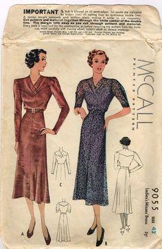 RARE Original 1930's Long Slim Dress Pattern with Eye Catching Yoke Front Size 42 Bust 42 MCCALL 9055