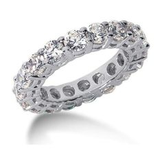 Pre-owned 14K White Gold & Diamond Eternity Band ($1,939) ❤ liked on Polyvore featuring jewelry, rings, round diamond ring, white gold wedding rings, wedding rings, diamond band ring and white gold diamond rings #diamondweddingbands #goldweddingring