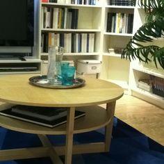 A circular coffee table. Ikea Vejmon in birch veneer.