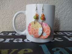 Colorful Floral Print Earrings Plaid Earrings by CraftyGalBoutique