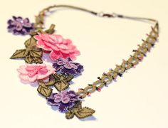 Princess Needle Lace Floral Necklace Pink by mylittlemiraclemelis