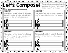 Compose Your Own! BAG Composition FREE composition activity that can be used for recorders or in general music!FREE composition activity that can be used for recorders or in general music! Music Lesson Plans, Music Lessons, Piano Lessons, Middle School Music, Music Activities, Movement Activities, Classroom Activities, Music Education, Physical Education