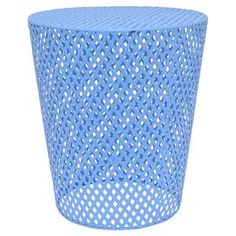 """Bring a pop of color to your home library or living room with this latticework end table, showcasing a flared silhouette and periwinkle blue finish.  Product: End tableConstruction Material: MetalColor: Periwinkle blueDimensions: 17.75"""" H x 15.75"""" Diameter"""